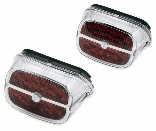 Harley-Davidson LED Rückleuchte Rotes Glas & chrom Zierring  - 67800457