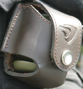 Custom Chrome P-Bag Grenade Lock Leather Sheath Black  - 68-1827