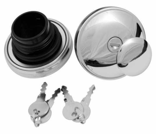 Custom Chrome Lockable Gas Cap Set, chrome  - 68-2785