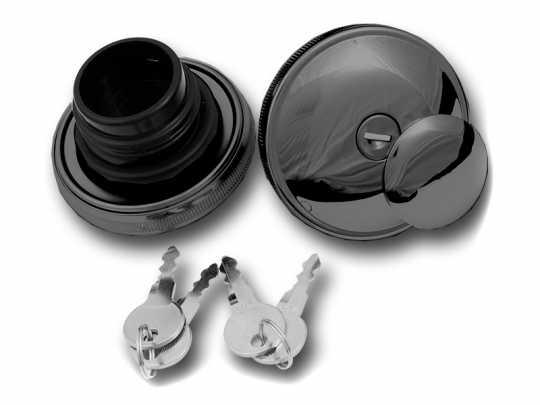 Custom Chrome Abschließbares Tankdeckel Set schwarz  - 68-5994