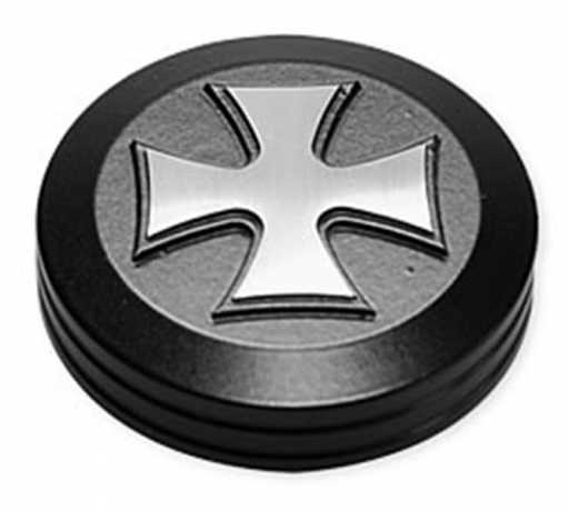 Hells Kitchen Choppers HKC Oil Tank Cover Iron Cross black  - 68-1862