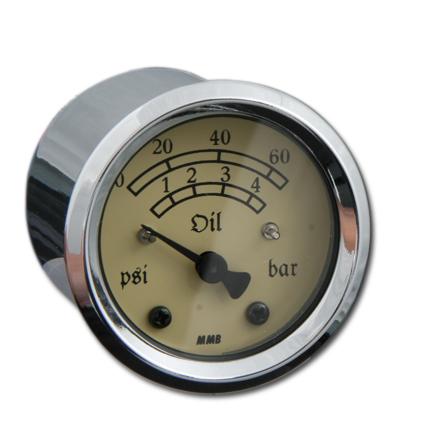 MMB MMB 48 mm Retro Gauge Oil Pressure 60Psi chrome, Ivory  - 68-2690