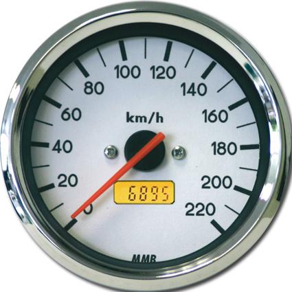 MMB MMB 80mm Electronic Tacho 220 km/h weiß & chrom  - 68-6828