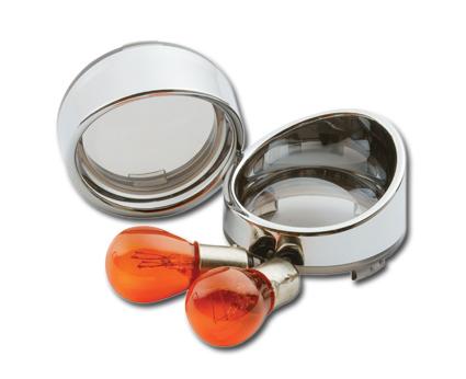 Custom Chrome Visor Bezel Kit Smoked Lens mit Amber Bulb  - 68-8028