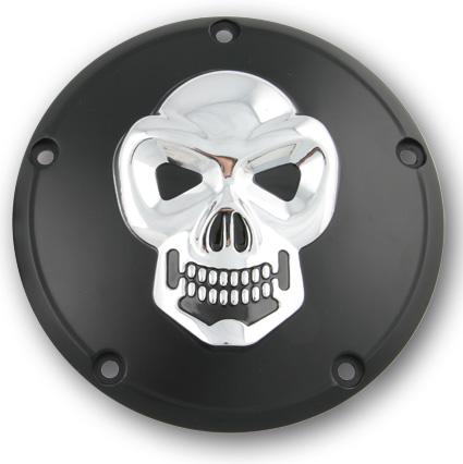 Custom Chrome Derby Cover Skull, schwarz & chrome  - 68-8221