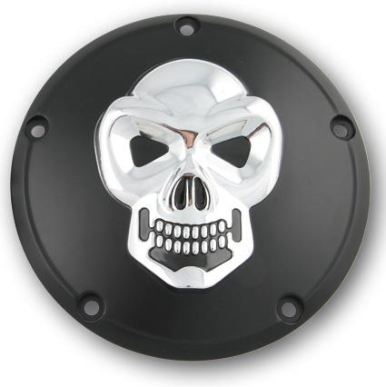Custom Chrome Derby Deckel Skull, schwarz & chrom  - 68-8222
