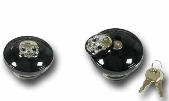Custom Chrome Skull Locking Tankdeckel Set schwarz  - 68-8705