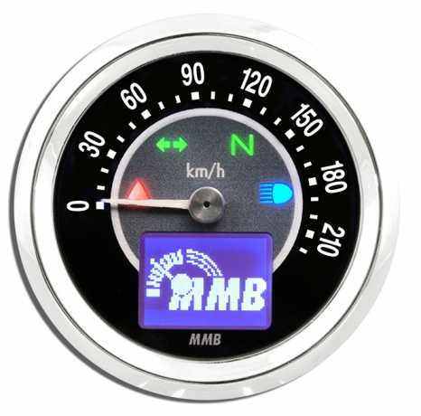 MMB ELT48 TARGET, chrome 220 km/h speedo, white backlight  - 69-0902