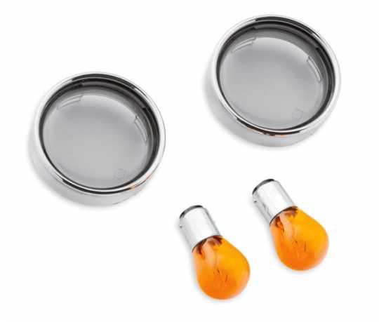 Harley-Davidson Blinker-Zierringe Bullet Vorn, Getönte Gläser mit orangefarbenen Birnen  - 69752-04