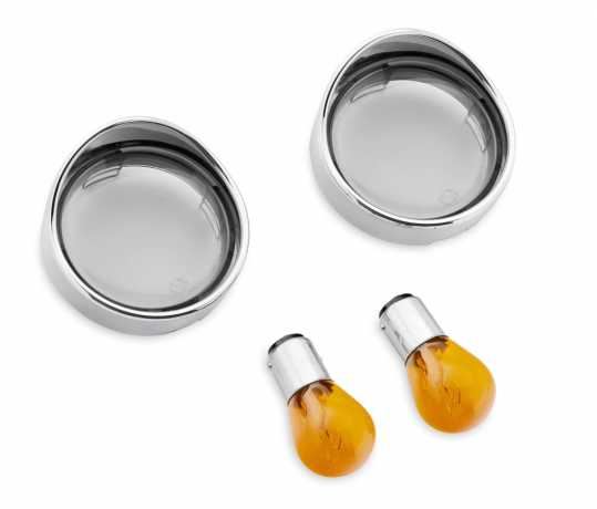 Harley-Davidson Turn Signal Visor Ring Style Bullet Front, Smoked Lenses with Amber Bulbs  - 69758-05