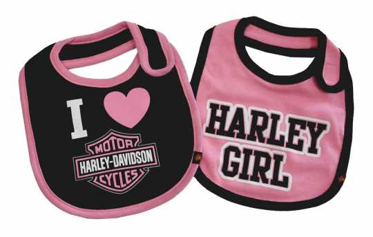 H-D Motorclothes Baby Girls' Bibs, Bar & Shield 2 Pack Set, Black/Pink  - 7009505