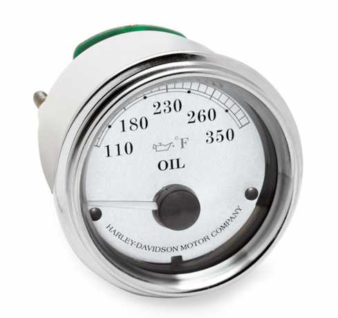 Harley-Davidson Öltemperaturanzeige - Einbau in die Verkleidung Silbernes Zifferblatt - Fahrenheit  - 70900284