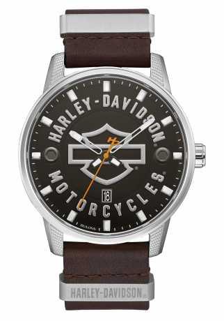 Bulova Harley-Davidson Watch Bar & Shield leather & steel  - 76B178