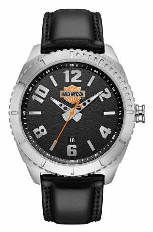 Bulova Harley-Davidson Watch Bar & Shield Leder & Edelstahl  - 76B181