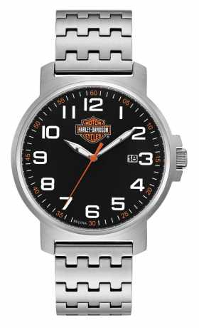Bulova Harley-Davidson Watch Bar Easy Read Black Dial Bar & Shield  - 76B187