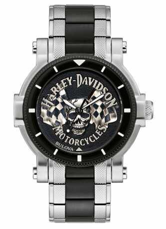 Bulova Harley-Davidson Watch Skull & Flags  - 78A124