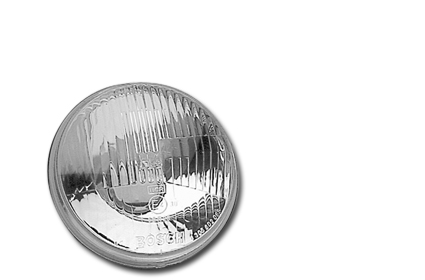 "Custom Chrome Headlight Insert 7"" H4 with parking light, ECE  - 68-2425"