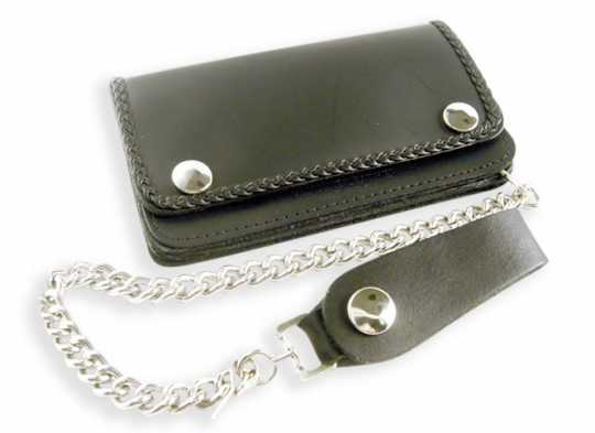 Amigaz Amigaz Black Leather Biker Chain Wallet with Braided Edge  - 88-9499
