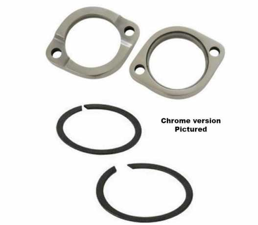 Custom Chrome Auspuff Clamp & Retainer Ring Kit schwarz  - 89-0373