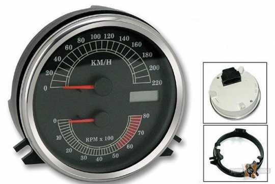 """Custom Chrome Electronischer 4.5"""" Tacho km/h & Drehzahlmesser  - 89-0384"""