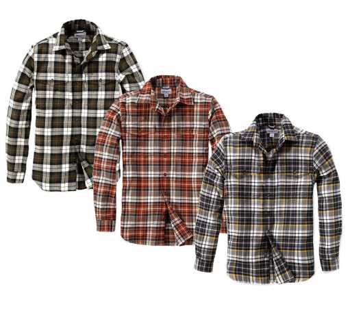 Carhartt slim fit flannel shirt at thunderbike shop for Trim fit flannel shirts