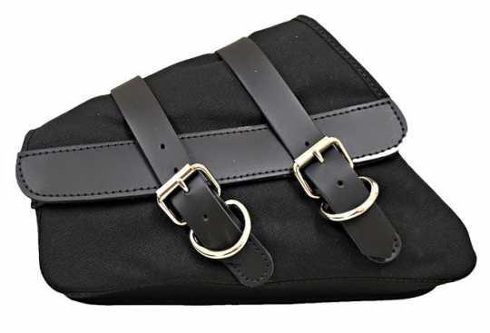 LaRosa LaRosa Canvas Left Side Saddle Bag - Black with Black Leather Accents  - 89-5024