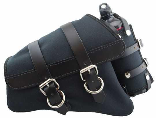 LaRosa LaRosa Canvas Left Side Saddle Bag with Fuel Bottle - Black with Black Leather Accents  - 89-5026