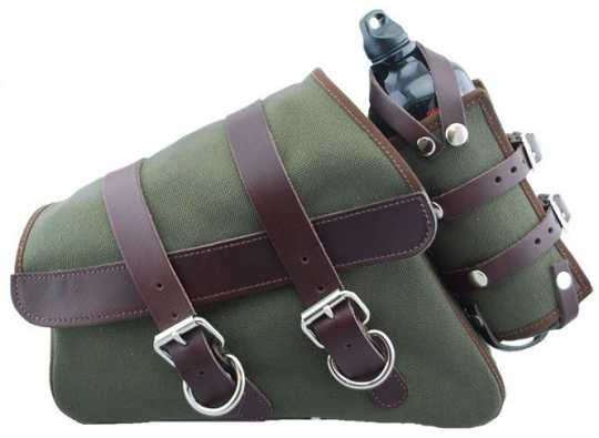 LaRosa LaRosa Canvas Left Side Saddle Bag with Fuel Bottle - Army Green with Brown Straps  - 89-5027