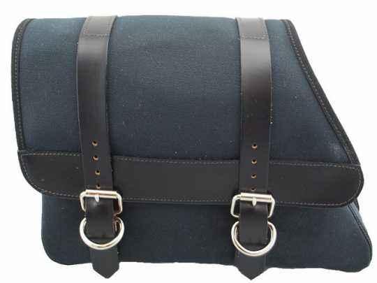 LaRosa LaRosa Canvas Left Side Saddle Bag - Black with Black Strap  - 89-5028