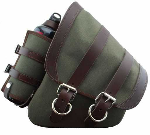 LaRosa LaRosa Canvas Left Side Saddle Bag with Fuel Bottle, army green with brown leather  - 89-5035
