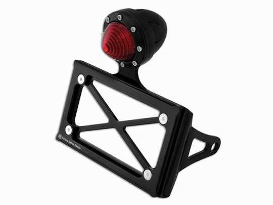Roland Sands Design RSD License Plate Bracket With LED Taillight, Horizontal, gloss black  - 89-6414