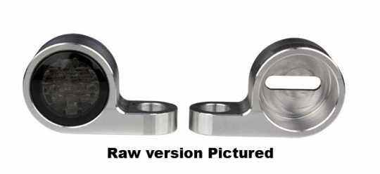 Flywheel Design Turn Signal Housing, Front, M8, 20mm Diameter, Aluminum, Powder Coated, Black  - 89-4360
