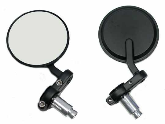"""Custom Chrome Bar-End Café Style Mirror Set 3""""  black  - 89-4901"""