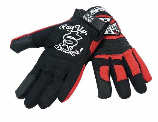 West Coast Choppers West Coast Choppers Riding Gloves Black/Red  - 90-1147V