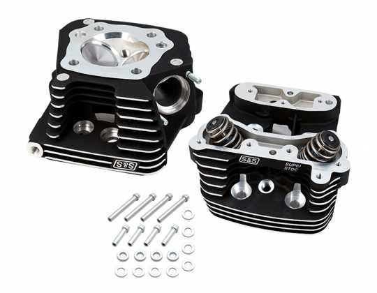 S&S Cycle S&S Super Stock Cylinder Head Kit black wrinkle  - 90-9761