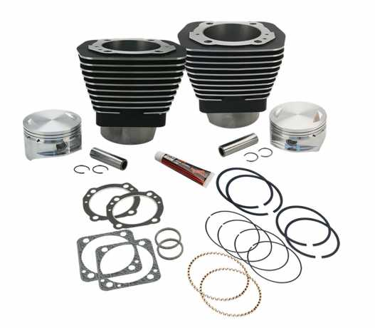 """S&S Cycle S&S 113""""  Bore Cylinder & Piston Kit 4"""" black wrinkle  - 91-0012"""