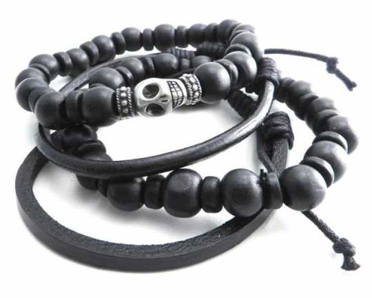 "Amigaz Amigaz Armband Skull Bead & Leather 8""  - 91-3773"