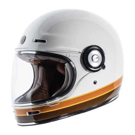 Torc Helmets Torc T-1 Retro Iso Bars Full Face Helmet gloss white ECE  - 91-6152V