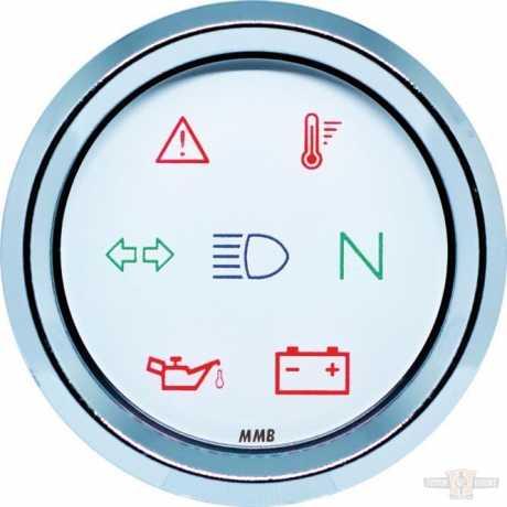 MMB MMB Indicator Light Unit 48mm, Chrome/Chrome, White Face Dial  - 91-6991