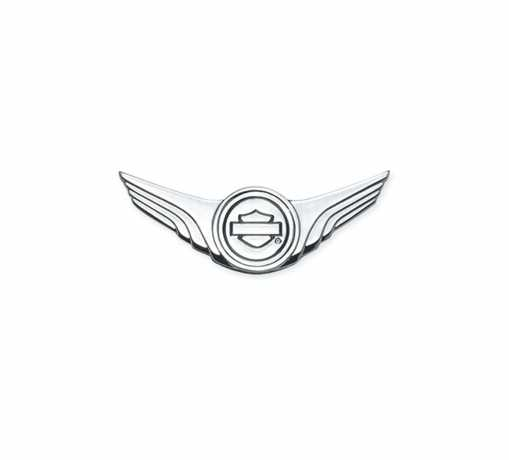 "Harley-Davidson Decorative Bar & Shield Logo / Wings Medallion 4"" x 1.5"" chrome  - 91745-02"