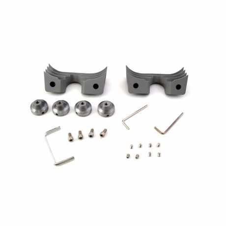 Motorcycle Storehouse Head Bolt Bridge Cover Set Finned silver  - 951464