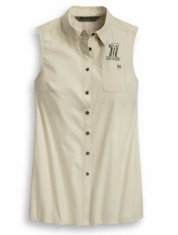 H-D Motorclothes Harley-Davidson women´s Shirt #1 Skull Tie-Front Off-White  - 96350-20VW