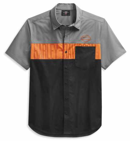 H-D Motorclothes Harley-Davidson Kurzarmhemd Colorblock schwarz/grau  - 99027-21VM