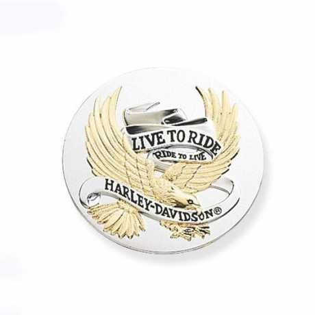 "Harley-Davidson Medallion 3.5"" Live To Ride Gold  - 99027-90T"