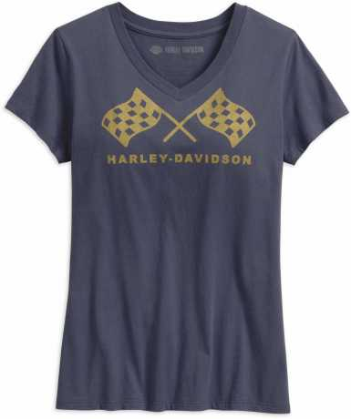 H-D Motorclothes Harley-Davidson Damen T-Shirt Retro Race Flag V-Neck blau  - 99237-19VW