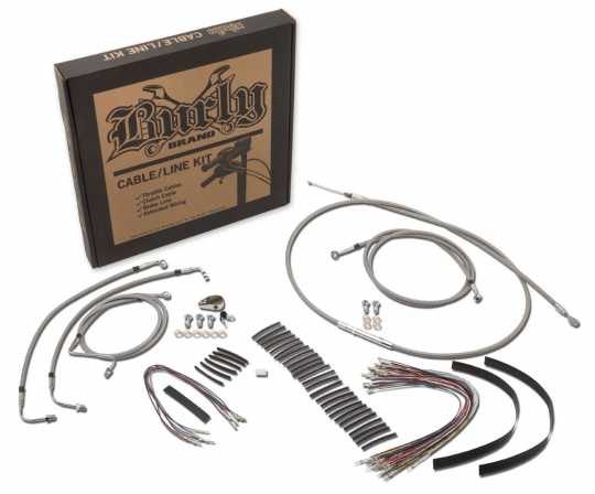 "Burly Ape Hanger Cable Kit 16"" stainless steel braided"