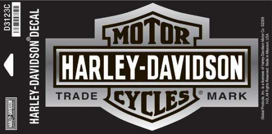 H-D Motorclothes Harley-Davidson Decal Long Bar & Shield, chrome / medium  - D3123C