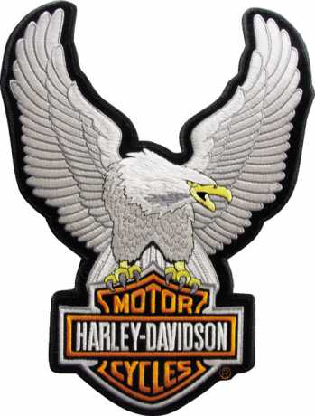 H-D Motorclothes Harley-Davidson Patch Upwing Eagle, silver / XS  - EMB 328062