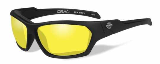 H-D Motorclothes Harley-Davidson Wiley X Drag Glasses, yellow / matte black frame  - HADRA13