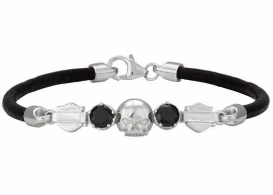 H-D Motorclothes Harley-Davidson Armband Leder silber Skull & Stone  - HDB0431-7,5